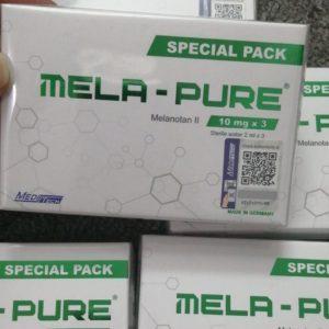 MELA-PURE (MELANOTAN II) 10MG Manufacturer:Meditech Generic name: Melanotan II Strength:10mg Packaging: 10mg x 3 Vials, 3 x ampoules sterile water, packed in one box