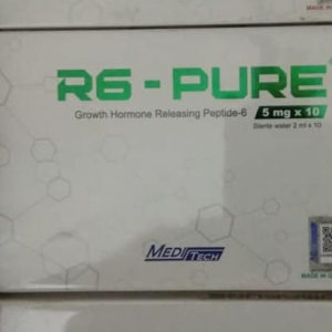 R6-PURE (GHRP-6) 5MG Manufacturer:Meditech Strength:5mg Packaging: 5mg x 10 Vials, 10 x ampoules sterile water, packed in one box