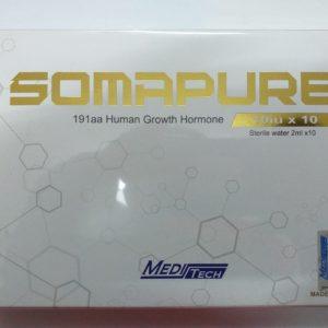 SOMAPURE 100IU Brand: Meditech Active substance: Somatropin Strength: 1oiu Packaging: 10iu x 10 Vials per box